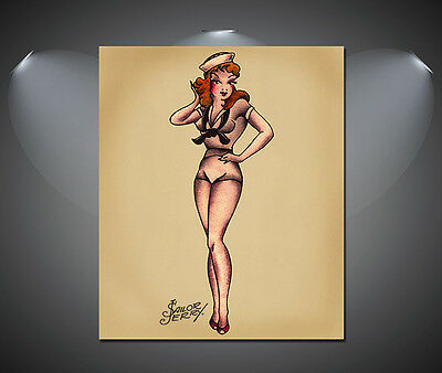 Sailor Jerry Navy Pin Up Girl Tattoo Vintage Large Poster - A1, A2, A3, A4 sizes