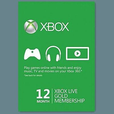 XBOX One 360 LIVE GOLD Mitgliedschaft Karte Code 12 MONATE Month Card Per Email