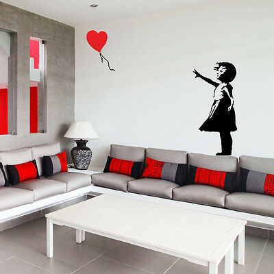 Banksy childhood Girl with balloon Large-Vinyl Mural wall Art sticker 3 Size