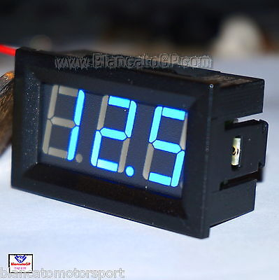 VOLTMETRO DIGITALE LED 0-100V BLU [tensione tester pannello auto moto rally mini