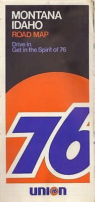 1970 UNION 76 OIL Road Map MONTANA IDAHO Boise Great Falls Yellowstone Glacier