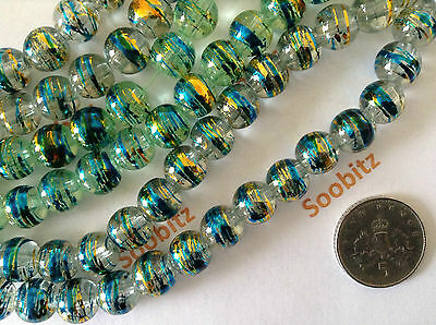 50x 8mm Glass Drawbench Beads - Assorted Colours