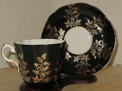 Royal Grafton Cup & Saucer Black With Gold Filigree Made in England