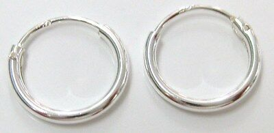 5 PAIRS - 925 STERLING SILVER 1.2 X 10mm Plain HOOP SLEEPERS Earrings - UNISEX