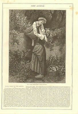 Mother And Child, Picking Fruit, by Bougereau, Vintage 1875 Antique Art Print,