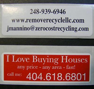 """Printed Labels 500 Custom 1"""" x 3"""" Rectangle Business Stickers 1-Color Offset ink"""