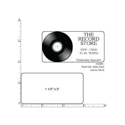 """500 Printed Labels, Rectangle 1-1/2"""" x 3"""" Custom Business Stickers 1-Color ink"""