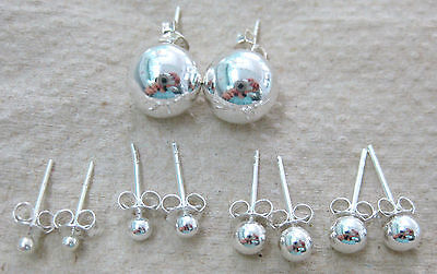 """100% REAL925 STERLING SILVER """" BALL"""" studs EARRINGS 2mm to 10mm - TEEN BOY GIRL"""