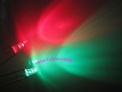 200pcs 3mm Dual Bi-Color Red/Green 3-Pin Led Common Cathode Water Clear Leds New