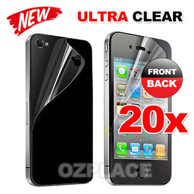 20x New Apple Ultra Clear Front & Back Screen Protector For Apple iPhone 4 4s