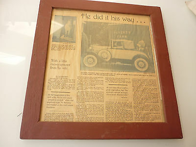 Vintage Framed Newspaper Article on Antique Collectible Car w/ Picture