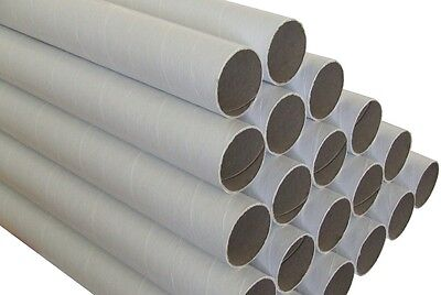 50 x Cardboard Mailing Tubes 60 x 1.5 x 420mm includes end caps BULK BUY Tube