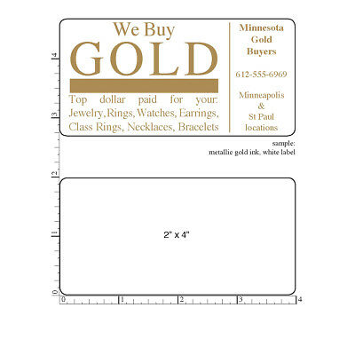 "2,000 Custom Labels, 2"" x 4""  Printed Rectangle Business Stickers 1-Color rolls"
