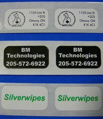 "5,000 Printed Labels, Custom Small Rectangle .5"" x 1"" Business Stickers 1-Color"