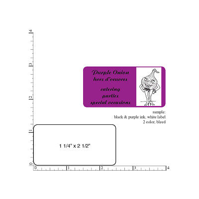 "Custom Printed Labels 5000 Rectangle Business Stickers 1-Color 1.25"" x 2.5"""