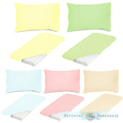 Pure Cotton Baby Cot Size Fitted Sheet & Pillowcase Set Nursery Crib Bedding