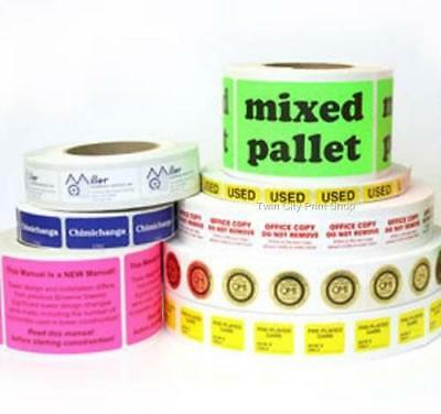 """Printed Stickers Labels, 10,000 Rectangle 1"""" x 2""""  Custom Business 1-Color Rolls"""