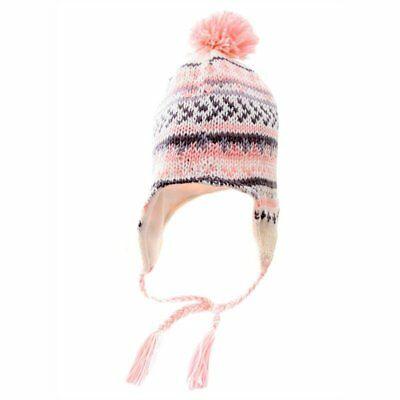 New Ladies Women Girls Peruvian Knitted Winter Ski Hat Fleece Lined Bobble Pom