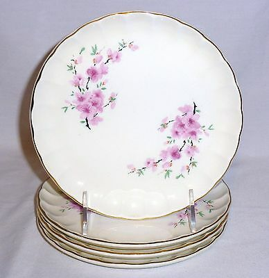 "W S George Four Salad Plates Peach Blossom (7 1/4"" Diameter)"