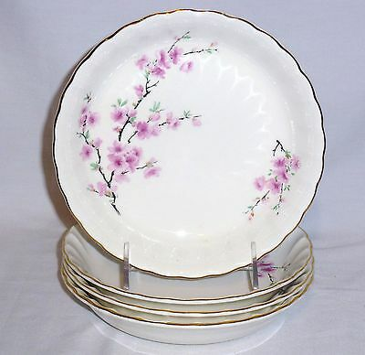 "W S George Four Soup Bowls Peach Blossom (7 3/4"" Diameter)"