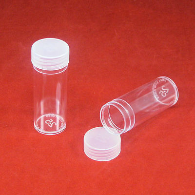 25 Round Plastic Coin Storage Tubes for Quarters with Screw On Caps
