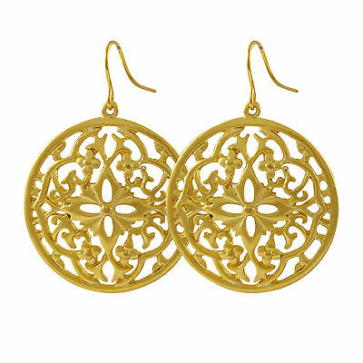 Filigree Flower Open Circle Gold Plated Dangle Drop Wire Earrings