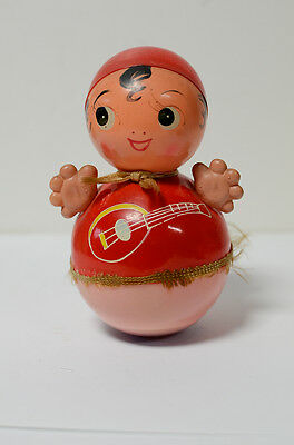 Vintage Celluloid Musical Rolly Polly Hula Toy Made in Japan