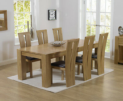 Rutland solid chunky oak furniture large dining table and 6 Arizona chairs