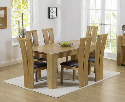 Rutland solid chunky oak furniture small dining table and 6 Arizona chairs
