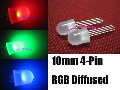 100pcs, 10mm 4-Pin Tri-Color RGB Diffused Common Anode Red Green Blue LED Leds