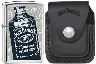 Zippo Lighter Jack Daniels Polished Chrome w/ Pouch Gift Set ( 24707)