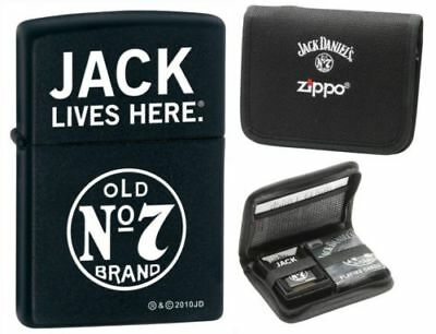 Zippo Lighter Jack Daniels Black Matte w/ Playing Cards (28014)