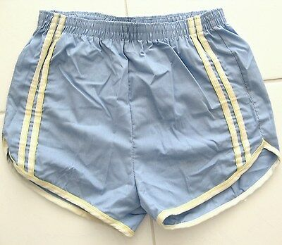 VINTAGE SWIM SUIT BABY BLUE white & yellow DOUBLE STRIPED 1970's size 38-40