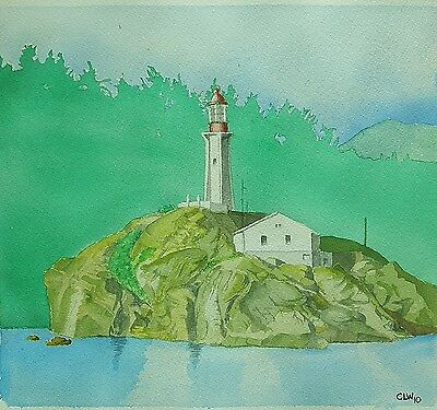"""""""Vancouver Lighthouse""""  Painting Watercolor Original Matted and Framed"""