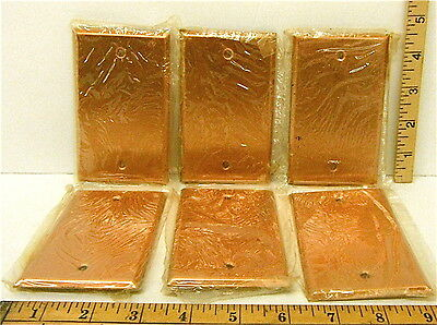 6 Heavy Duty Antique Smooth Copper Plate Metal Blank Wall Light Switch Cover