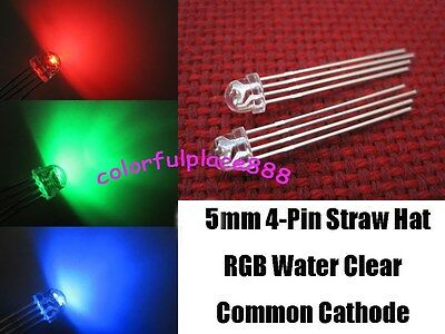 50pcs, 5mm Straw Hat 4-Pin Tri-Color RGB Common Cathode Water Clear LED Leds New
