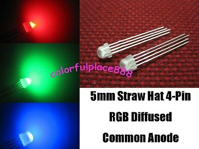 20 x 5mm Straw Hat 4-Pin Tri-Color RGB Diffused Common Anode Red Green Blue LED
