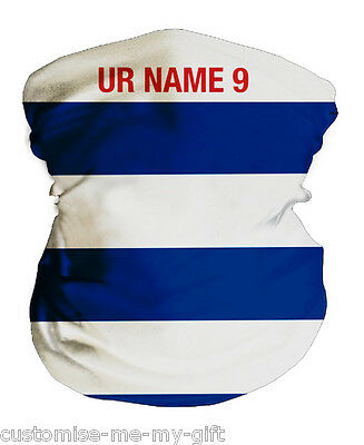 Blue and White Hoops Football Snood Neck tube | Personalised | Neck Warmer, Mask