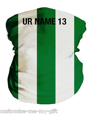 Green and White Stripes | Football Snood | Ltd Ed | Personalised | Neck Warmer