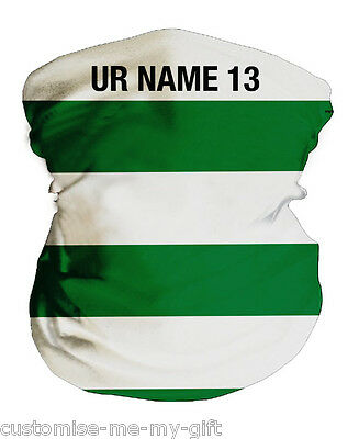 Green and White Hoops | Football Snood | Ltd Ed | Personalised | Neck Warmer