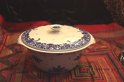 Porceleyne Fles Royal Blue Delft Vintage Antique Covered Bowl Casserole