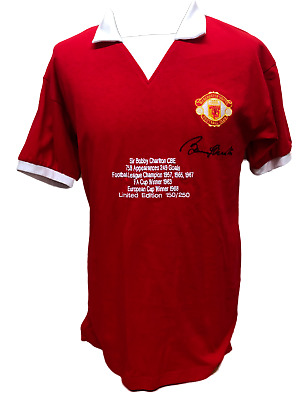 Bobby Charlton Signed Limited Edition Manchester United Football Shirt Proof Coa