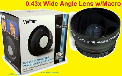 VIVITAR 0.43x WIDE ANGLE LENS With MACRO 72mm HD -> Camera Camcorder Video .43x