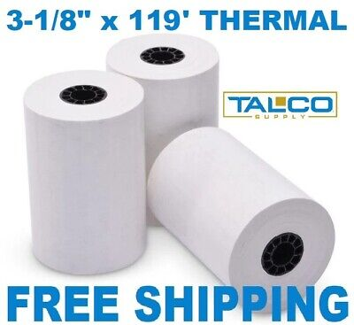 "3-1/8"" x 119' THERMAL PoS RECEIPT PAPER - 10 NEW ROLLS  ** FREE SHIPPING **"