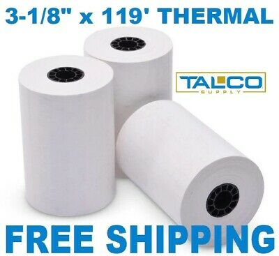 "FD-100 3-1/8"" x 119' THERMAL RECEIPT PAPER - 12 NEW ROLLS  ** FREE SHIPPING **"