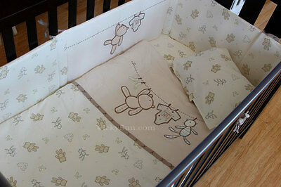 6 Pcs Baby Nursery Embroidered Cot Bedding Set Quilt Bump Clothesline Baby Bear