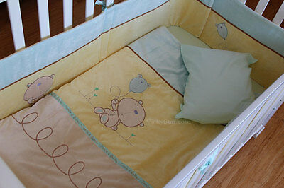 6 Pcs Baby Nursery Embroidered Cot Bedding Set Quilt Bumper Treacle and Bubble