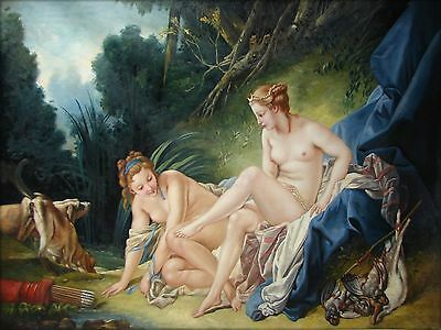 Francois Boucher Diana Bathing Repro Quality Hand Painted Oil Painting 36x48in
