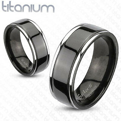 Solid Titanium Two Tone Silver Black IP Center Groove Men's Ring Wedding Band