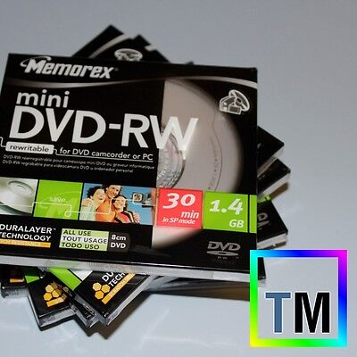 5 MEMOREX 8cm MINI DVD-RW WARRANTY discs for DCR-DVD205